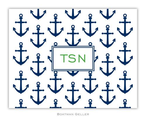 Anchors Navy Foldover Note from Boatman Geller