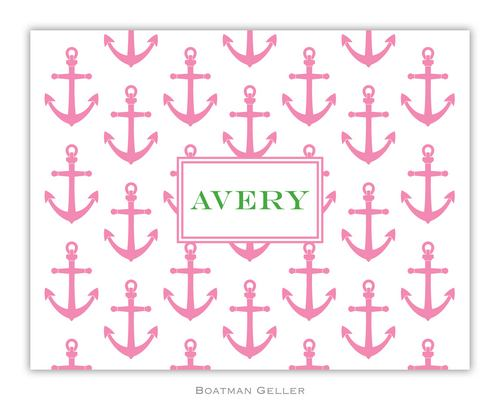 Anchors Pink Foldover Note from Boatman Geller