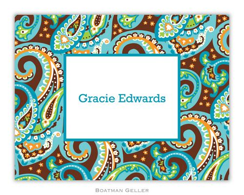 Ellie Paisley Turquoise & Brown Foldover Note from Boatman Geller-boatman geller foldover notes, personalized note cards from boatman geller, ellie paisley turquoise & brown Foldover Note from Boatman Geller