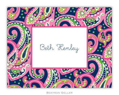 Ellie Paisley Raspberry & Navy Foldover Note from Boatman Geller-boatman geller foldover notes, personalized note cards froEllie Paisley Raspberry & Navy Foldover Note from Boatman Gellerm boatman geller,