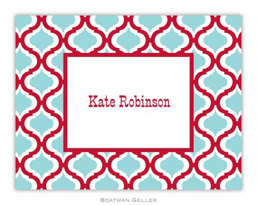 Kate Red & Teal Foldover Note from Boatman Geller-boatman geller foldover notes, personalized note cards from boatman geller, Kate Red & Teal Foldover Note from Boatman Geller