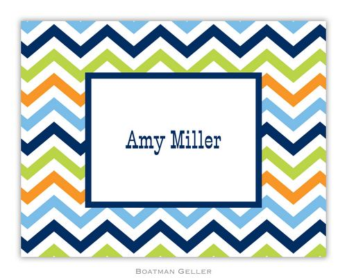 Chevron Blue, Orange & Lime Foldover Note from Boatman Geller