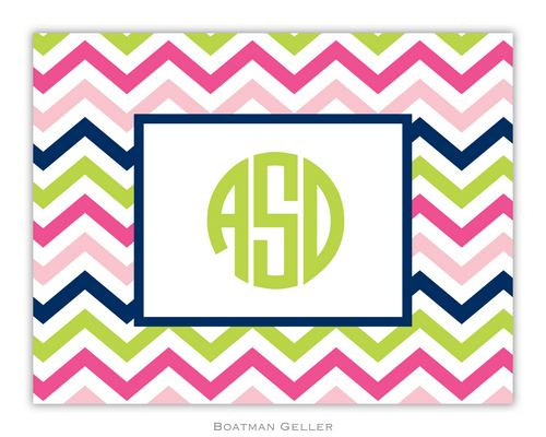 Chevron Pink, Navy & Lime Foldover Note from Boatman Geller