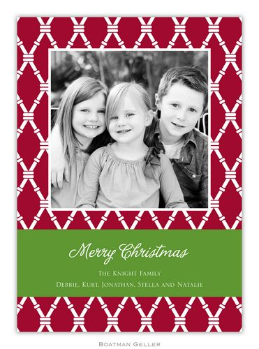 Bamboo Cranberry Holiday 1-Photo Card from Boatman Geller