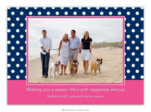 Polka Dot Navy Holiday 1-Photo Card from Boatman Geller
