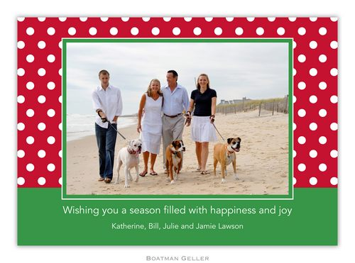 Polka Dot Cherry Holiday 1-Photo Card from Boatman Geller
