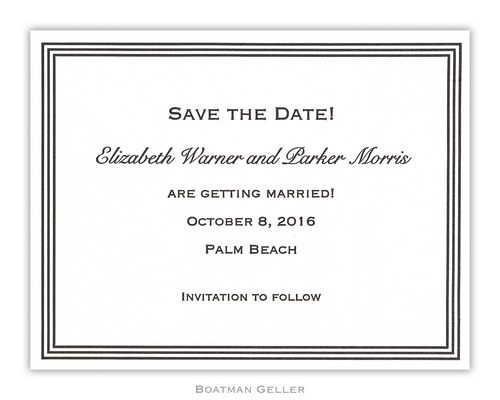 Letterpress Grand Border Small Flat Invitation from Boatman Geller