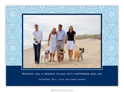 Bursts Cornflower Holiday 1-Photo Card from Boatman Geller