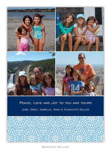 Bursts Navy Holiday Photo Card from Boatman Geller