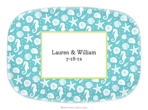 Personalized Melamine Jetties Teal Platter from Boatman Geller