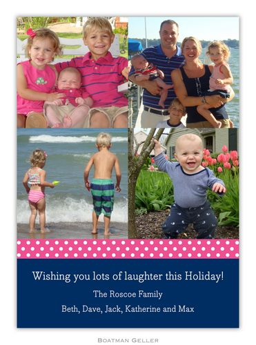 Ribbon Polka Dot Raspberry Holiday Photo Card from Boatman Geller