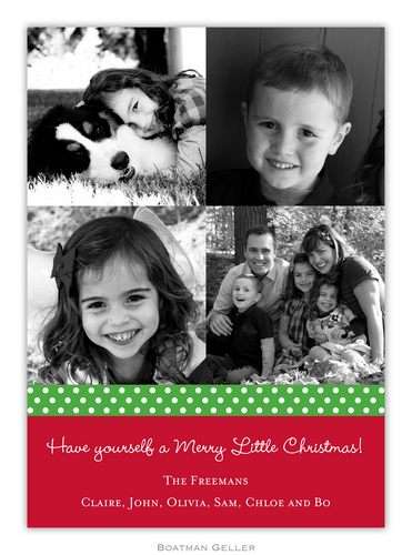 Ribbon Polka Dot Kelly Holiday Photo Card from Boatman Geller