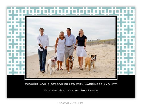 Lattice Slate Holiday 1-Photo Card from Boatman Geller