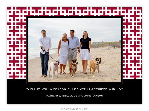 Lattice Cranberry Holiday 1-Photo Card from Boatman Geller