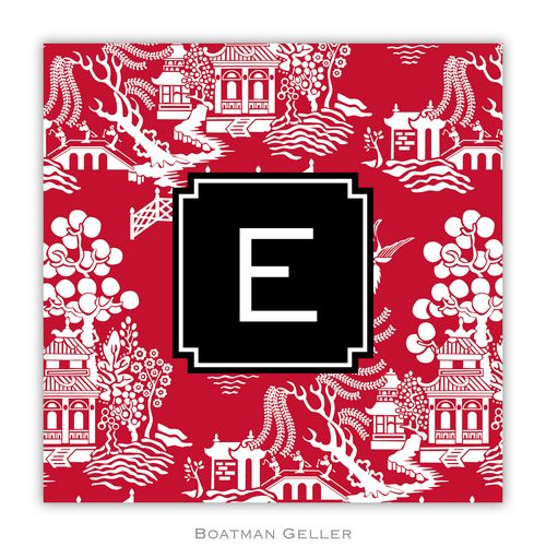 Personalized Chinoiserie Red Holiday Paper Coasters from Boatman Geller