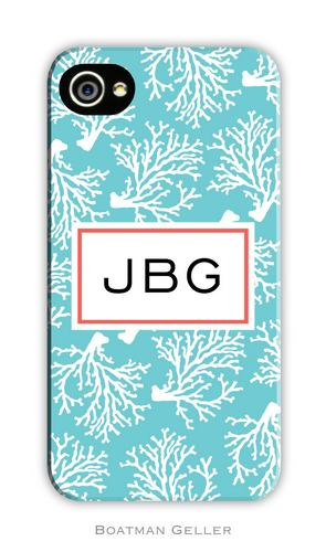 Coral Repeat Teal Personalized Boatman Geller Hard Cell Phone and Tech Case