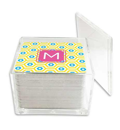 Dabney Lee Paper Drink Coasters in Lucite Box