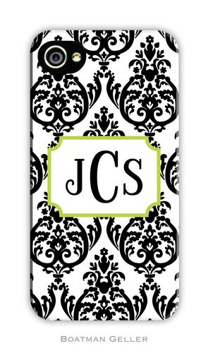 Madison Damask Black Personalized Boatman Geller Hard Cell Phone and Tech Cases