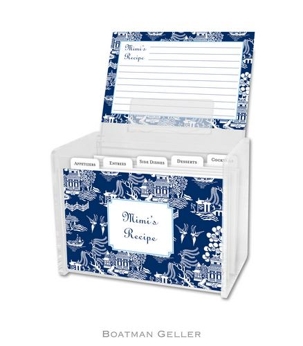Chinoiserie Navy Personalized Lucite Recipe Boxes from Boatman Geller