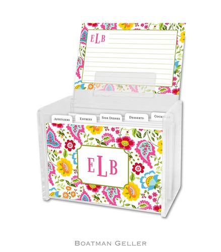 Bright Floral Personalized Lucite Recipe Boxes from Boatman Geller