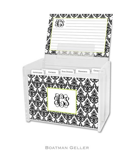 Madison Damask White with Black Personalized Lucite Recipe Boxes from Boatman Geller-Madison Damask White with Black Personalized Lucite Recipe Boxes from Boatman Geller