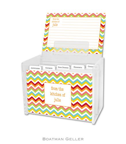 Chevron Bright Personalized Lucite Recipe Boxes from Boatman Geller