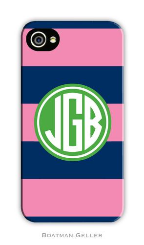 Rugby Navy & Pink Personalized Boatman Geller Hard Cell Phone and Tech Cases-hard cell phone cases from boatman geller, iphone cell phone cases, blackberry cell phone cases, samsung cell phone cases, rugby navy and pink cell phone case