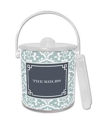 Double Walled Sea Floral Lucite Ice Bucket from Whitney English - more colors