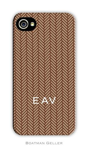 Herringbone Brown Personalized Boatman Geller Hard Cell Phone and Tech Cases