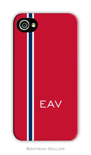 Racing Stripe Red & Navy Personalized Boatman Geller Hard Cell Phone and Tech Cases