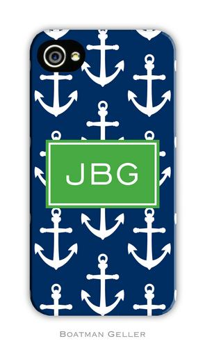 Anchors White with Navy Personalized Boatman Geller Hard Cell Phone and Tech Cases-hard cell phone cases from boatman geller, iphone cell phone cases, blackberry cell phone cases, samsung cell phone cases, anchors white with navy cell phone case