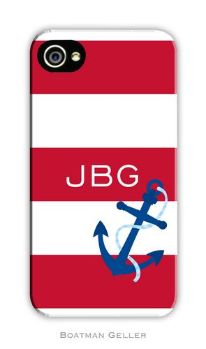 Anchor Stripe Red Personalized Boatman Geller Hard Cell Phone and Tech Cases