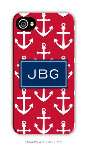 Anchors White with Red Personalized Boatman Geller Hard Cell Phone Case