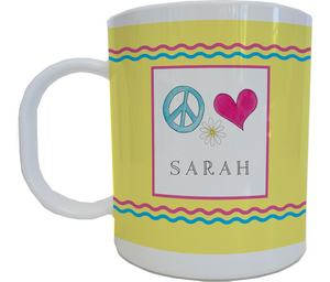 Peace and Love Mug from Kelly Hughes Designs