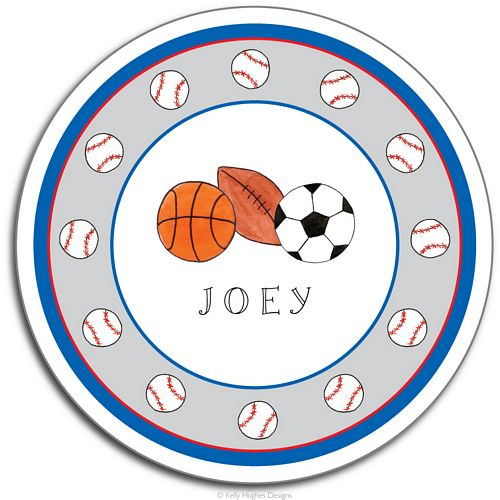 Sports Fan Melamine Plate from Kelly Hughes Designs