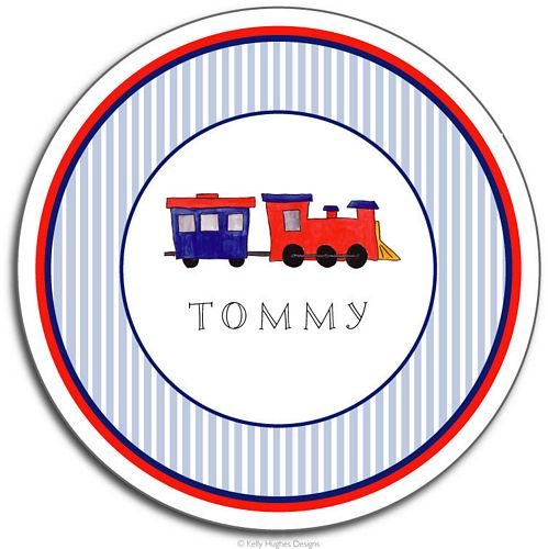 All Aboard Melamine Plate from Kelly Hughes Designs
