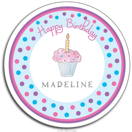 Birthday Cupcake Melamine Plate from Kelly Hughes Designs