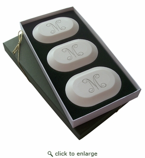 Initial Trio Eco Friendly Soaps from Carved Solutions-initial monogrammed soaps from carved solutions, initial trio soaps
