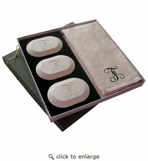 Single Initial Luxury Gift Set of Eco Friendly Soaps from Carved Solutions-initial monogrammed soaps from carved solutions, initial trio soaps, 3 bar gift set, eco friendly soap