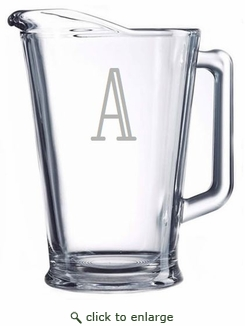 Personalized Glass Pitcher from Carved Solutions-