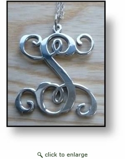 Hand Crafted Sterling Silver Necklace-Vine Initial