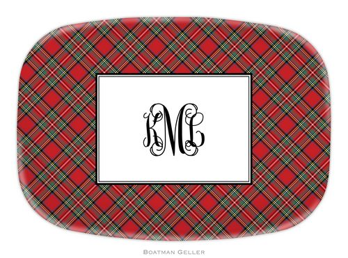 personalized melamine red plaid holiday platter from boatman geller on sale