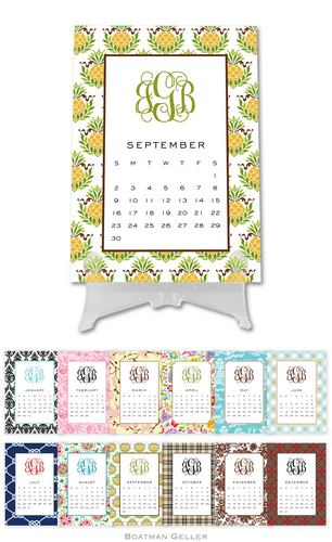 personalized and script monogrammed desk calendar from boatman geller