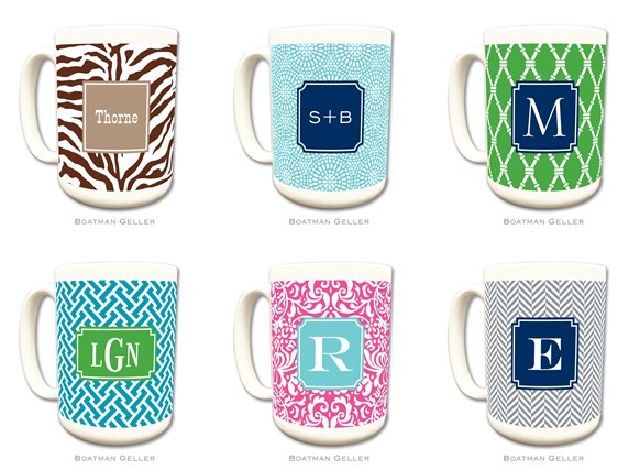 Boatman Geller Monogrammed Ceramic Mugs