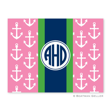 Anchors Ribbon in Pink Foldover Note from Boatman Geller
