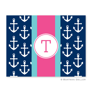 Anchors Ribbon in Navy Foldover Note from Boatman Geller