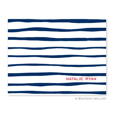 Brush Stripe Navy Foldover Note from Boatman Geller