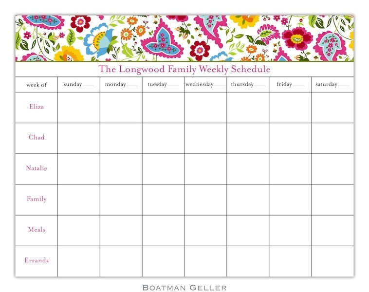 Bright Floral Calendar Pad from Boatman Geller