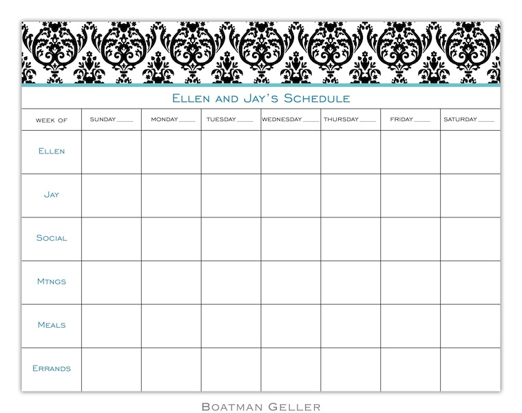 Madison Damask White with Black Calendar Pad from Boatman Geller