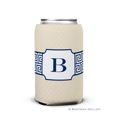 Greek Key Navy Personalized Boatman Geller Can Koozies